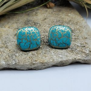 Vintage Turquoise Gold Crackle Earrings 90's Stud